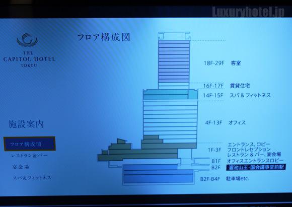 ザ・キャピトルホテル東急 アクトビラ施設案内画面