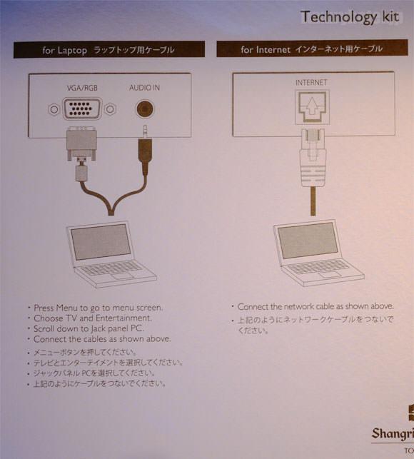 シャングリ・ラ ホテル 東京 ケーブルキット説明画像1