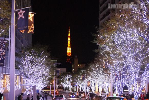 六本木ヒルズの奥に見える東京タワー