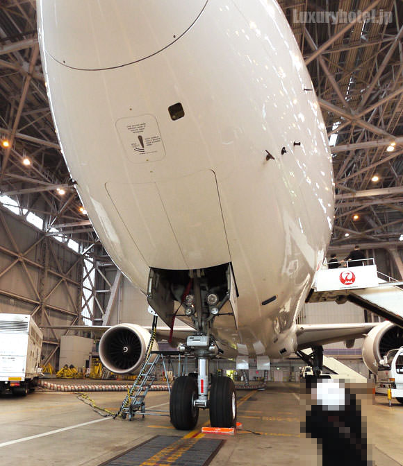 JAL 777新シート体験会 機体画像 先頭部分の下