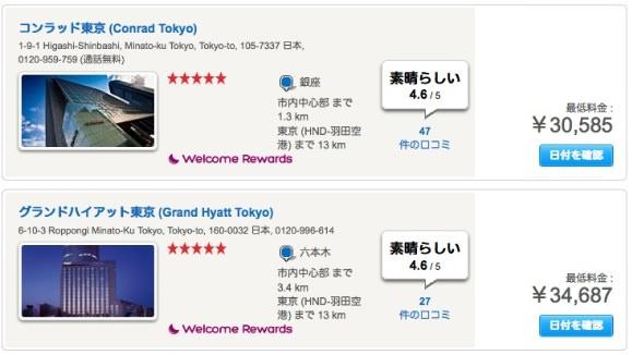 Hotels.com 高級ホテル価格画像