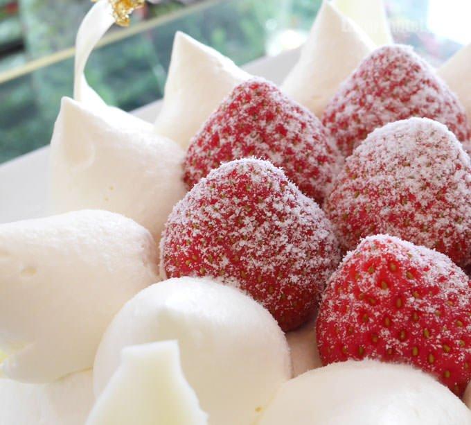 トップには粉雪をまとった美味しそうなイチゴ