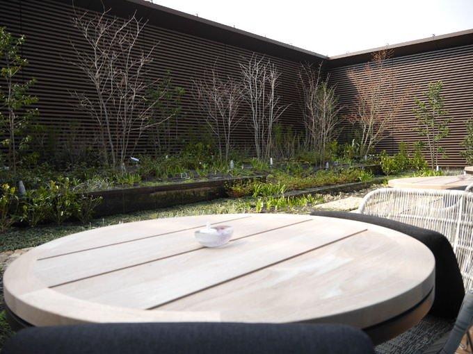 テラス席からの眺め 緑が植えられている