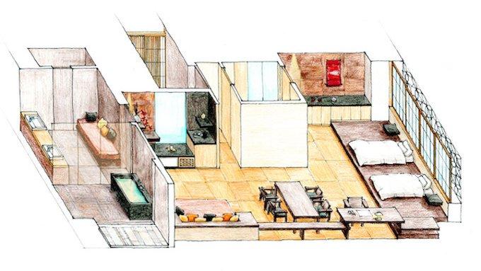 星のや東京「菊」部屋のレイアウト 公式画像