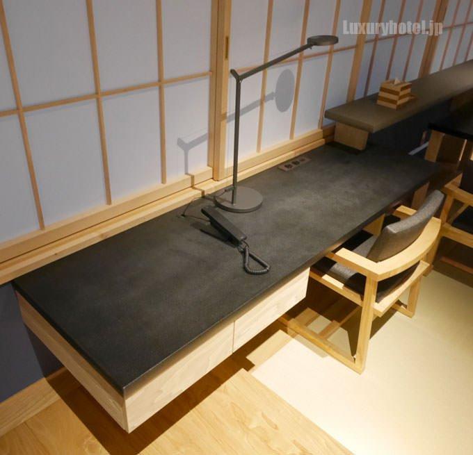 テーブルセットの横にはワークスペースがある