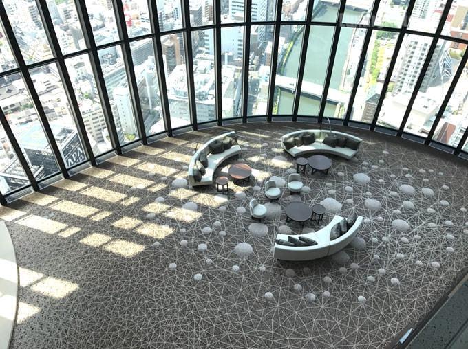 40階からみた38階のフロア