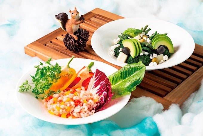 「ノルウェーシュリンプとカラーピーマンのサラダ」「緑の野菜のサラダ 新雪仕立て」